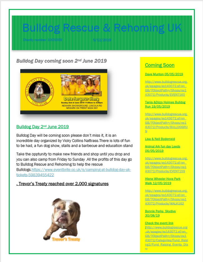 NEWSLETTER 30: May 2019 - BULLDOG RESCUE & REHOMING TRUST